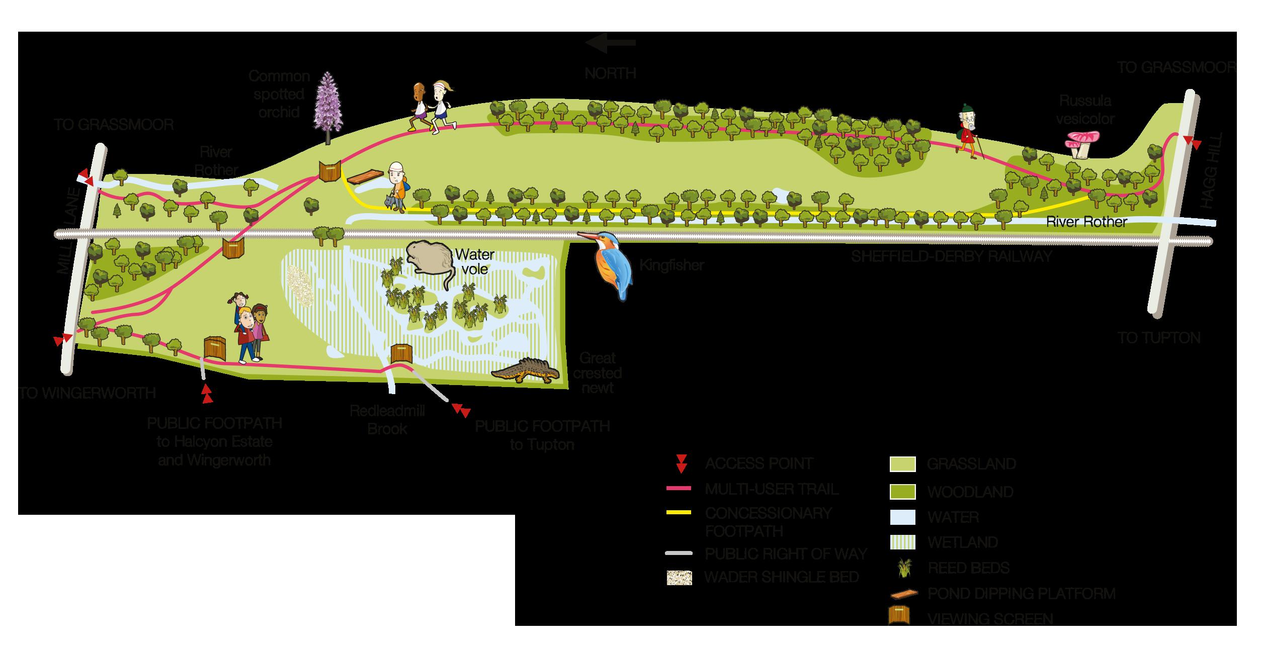 Avenue Washlands Nature Reserve map
