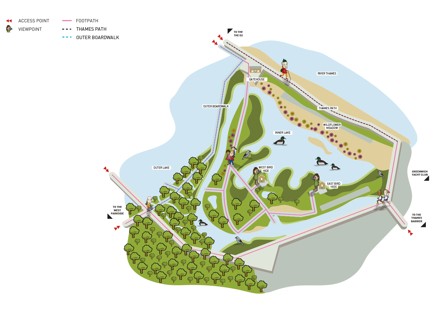A site map graphic of The Land Trust's award winning development, Greenwich Ecology Park
