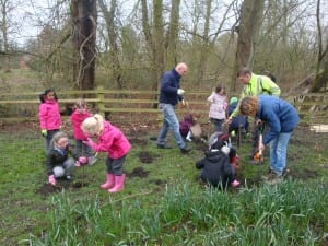 Children plant tree plugs on an environmental education activity at Land Trust's Warrington site Bewsey