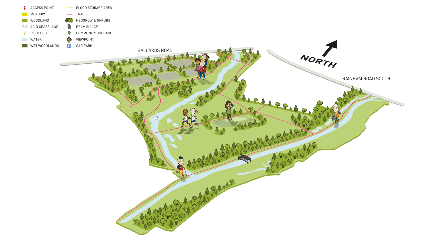 Map of The Land Trust's Beam Parklands site.