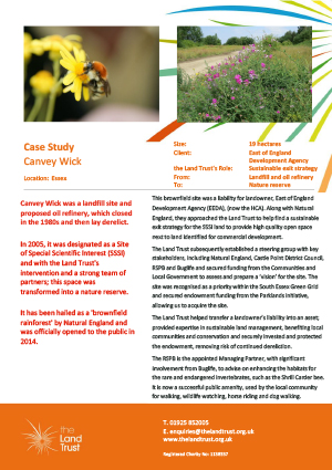 A case study of The Land Trust's brownfield site Canvey Wick, in the east of England. An important site of scientific interest and high biodiversity.