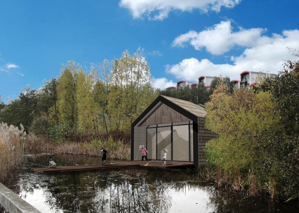An Architect's representation of the planned educational development, Greenwich Ecology Park outdoor classroom.