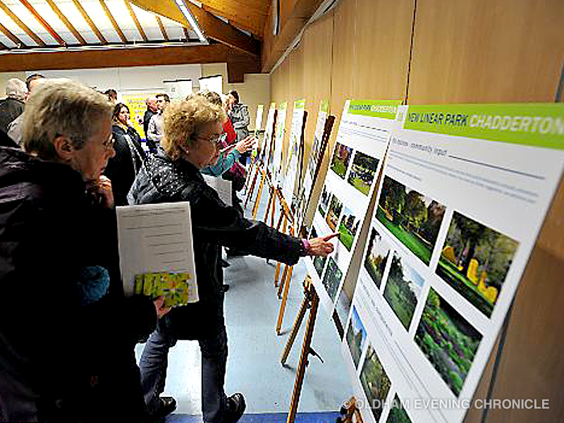 People from the local community attending a Land Trust consultation event. Copyright Oldham Evening Chronicle