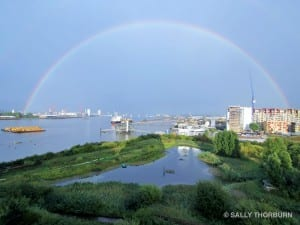 A rainbow over the river Thames and The Land Trust's site, Greenwich Ecology Park. Copyright Sally Thorburn