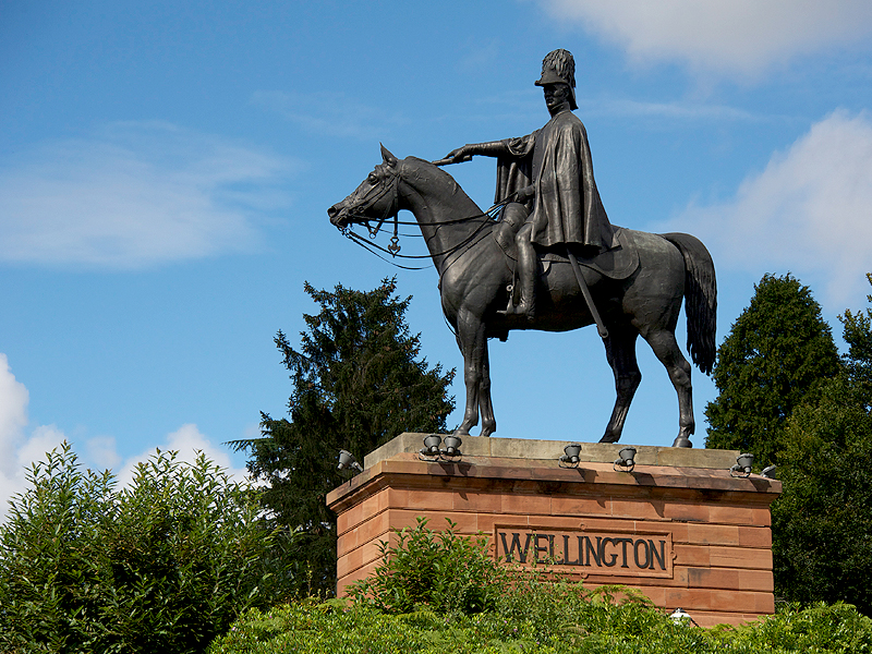 Statue of the duke of Wellington at The Land Trust's Wellesley community Woodlands site in Aldershot, Hampshire.