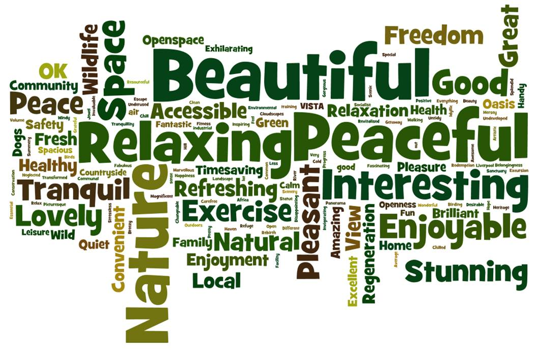 the benefits of green spaces word cloud