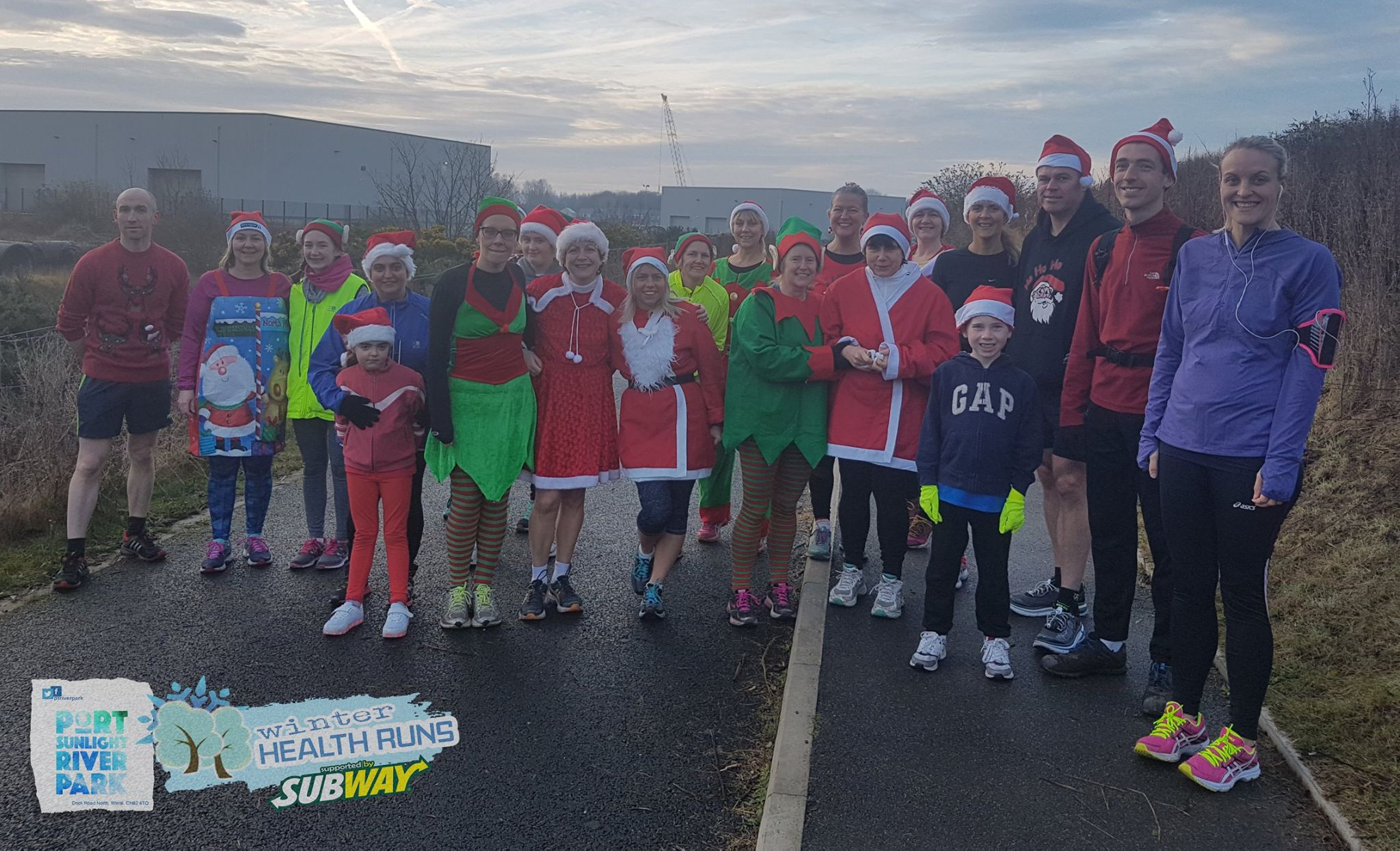 Santa Dash participants at Port Sunlight River Park