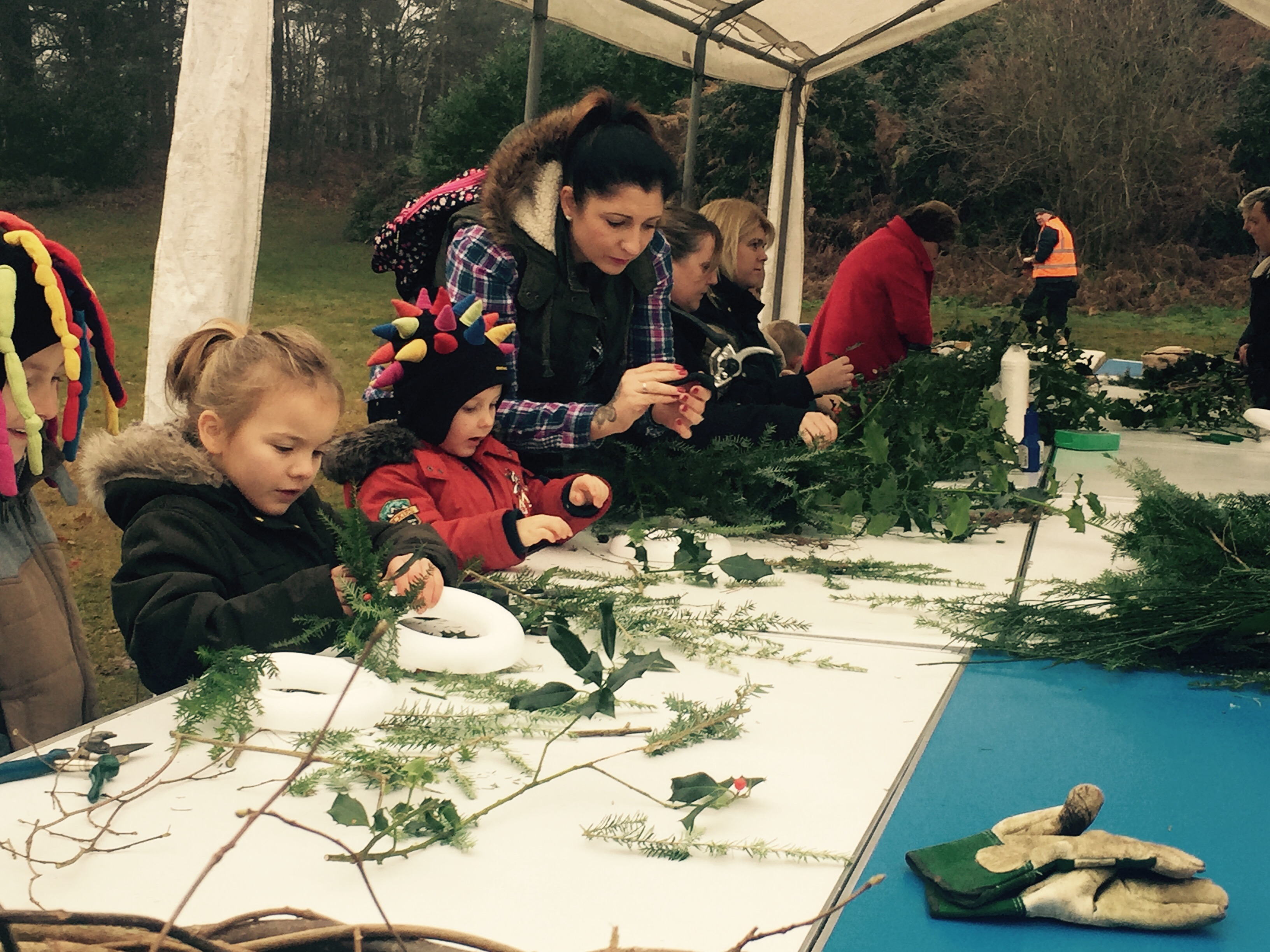 wreath making at Wellesley Woodlands