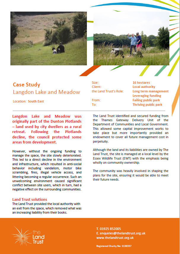 Langdon Lake and Meadow Case Study