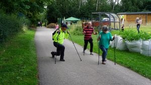 Trying out Nordic walking at Countess of Chester Country Park (c) Andy Scargill