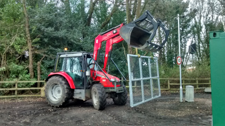 Moving each new gate leaf to load onto the trailer