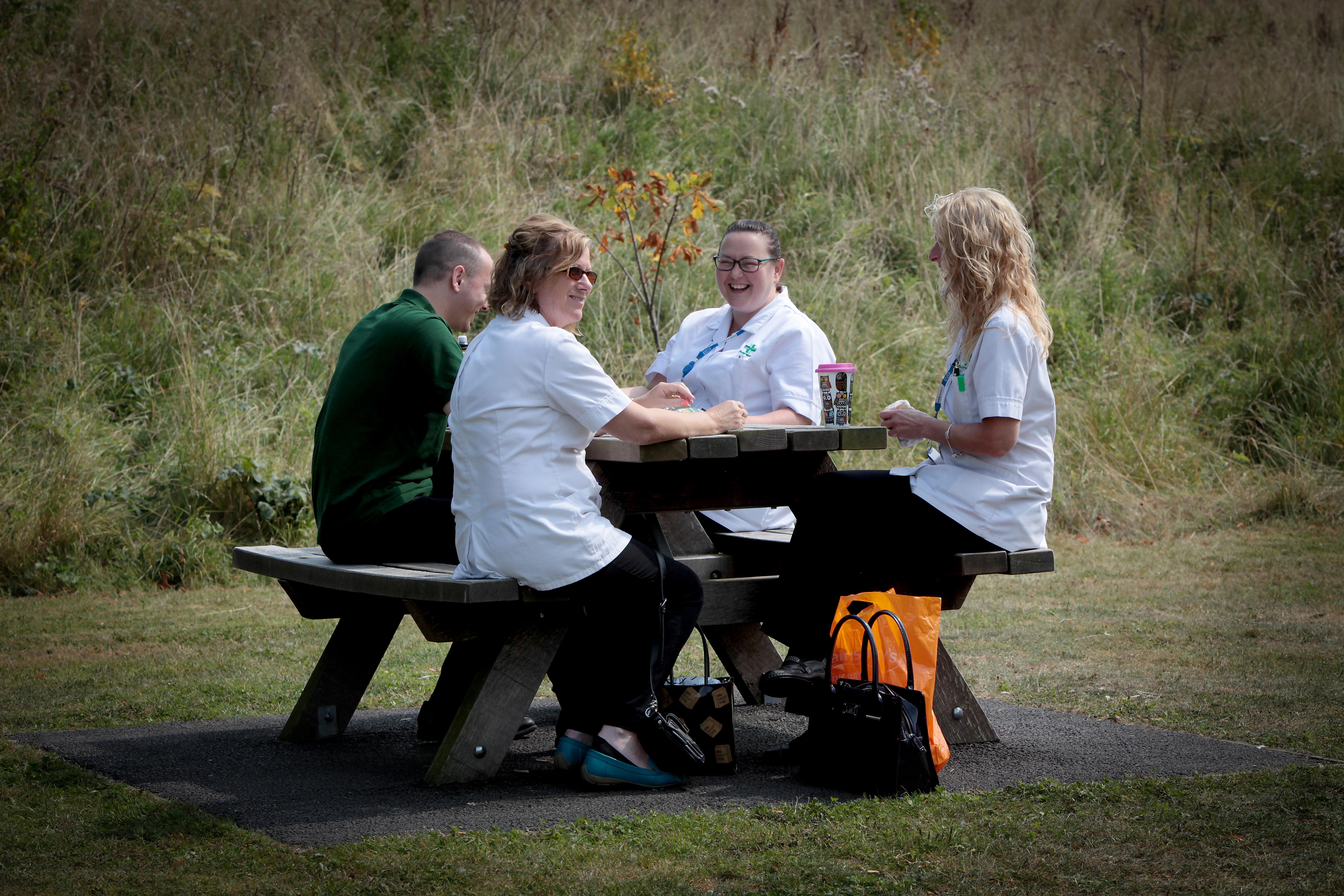 NHS staff in park