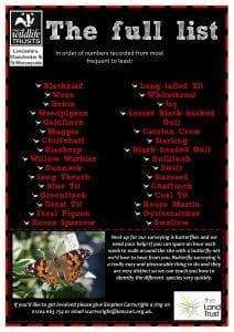 Aston's Field bird survey 2019 roundup